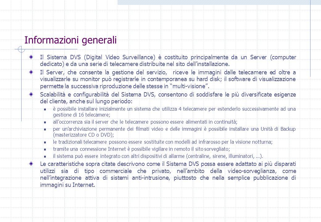Informazioni generali Il Sistema DVS (Digital Video Surveillance) è costituito principalmente da un Server (computer dedicato) e da una serie di telec
