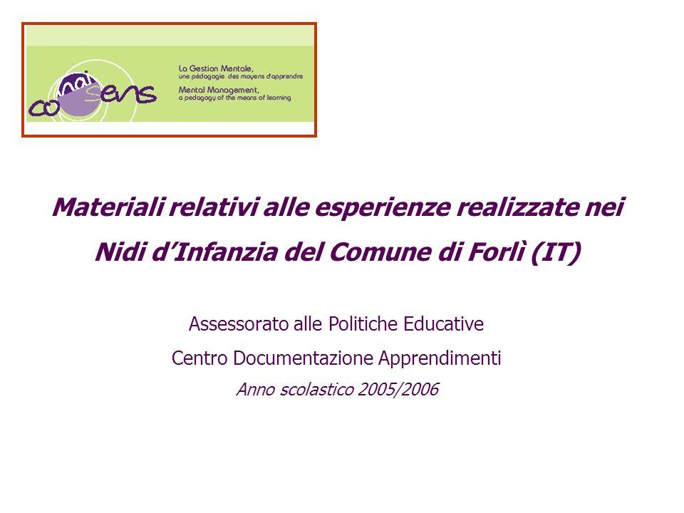 Materiali relativi alle esperienze realizzate nei Nidi dInfanzia del Comune di Forlì (IT) Assessorato alle Politiche Educative Centro Documentazione A