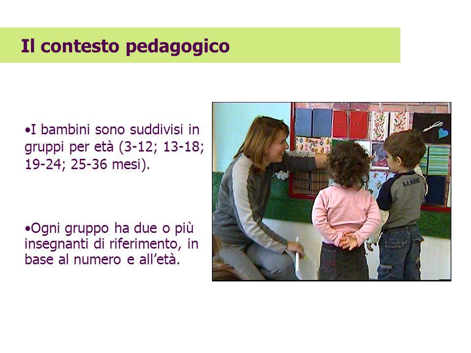 I bambini sono suddivisi in gruppi per età (3-12; 13-18; 19-24; 25-36 mesi). Ogni gruppo ha due o più insegnanti di riferimento, in base al numero e a