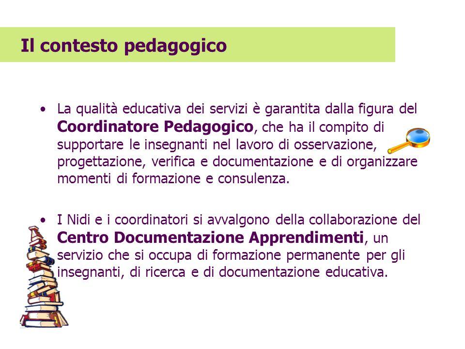 La qualità educativa dei servizi è garantita dalla figura del Coordinatore Pedagogico, che ha il compito di supportare le insegnanti nel lavoro di oss