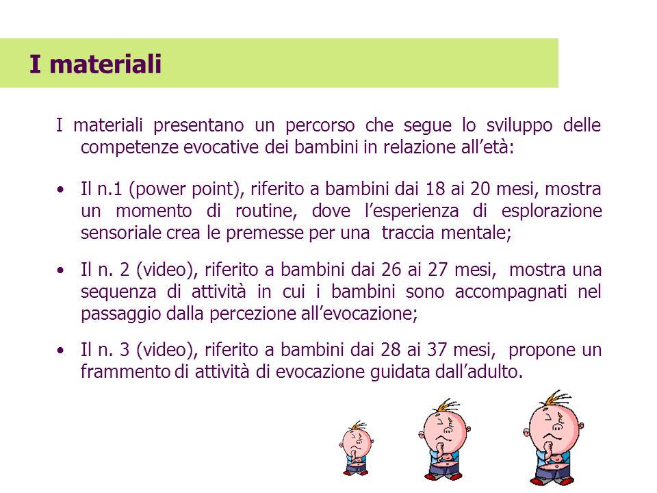 I materiali presentano un percorso che segue lo sviluppo delle competenze evocative dei bambini in relazione alletà: Il n.1 (power point), riferito a
