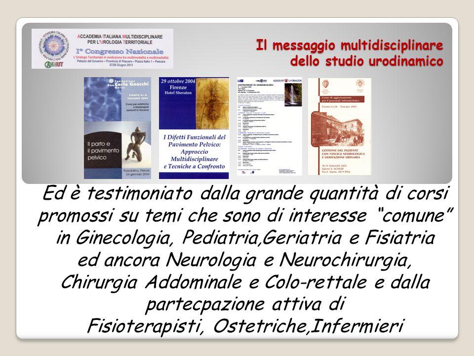Il messaggio multidisciplinare dello studio urodinamico Ed è testimoniato dalla grande quantità di corsi promossi su temi che sono di interesse comune