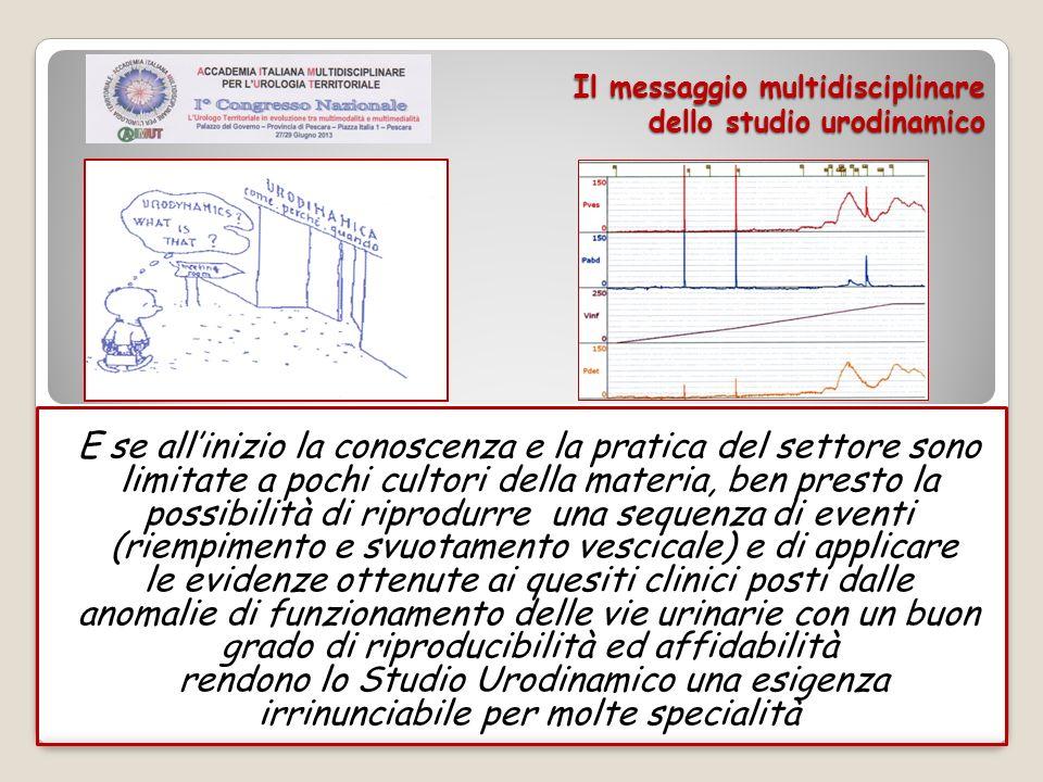 Il messaggio multidisciplinare dello studio urodinamico Lo STUDIO URODINAMICO,dunque, diventa una necessità che fa la differenza per la qualità delle cure sia mediche che chirurgiche che riabilitativo-comportamentali