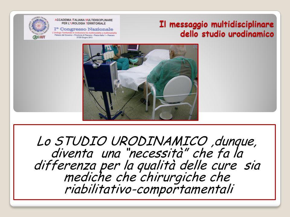 Il messaggio multidisciplinare dello studio urodinamico Lo STUDIO URODINAMICO,dunque, diventa una necessità che fa la differenza per la qualità delle