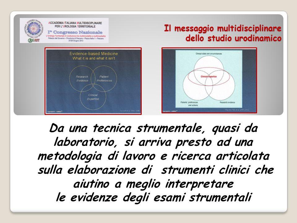 Il messaggio multidisciplinare dello studio urodinamico Quindi uno Studio Urodinamico rappresenta sempre il completamento di un percorso diagnostico che deve essere supportato da un confronto continuo delle esperienze: da qui nasce il ruolo multidisciplinare dellUrodinamica