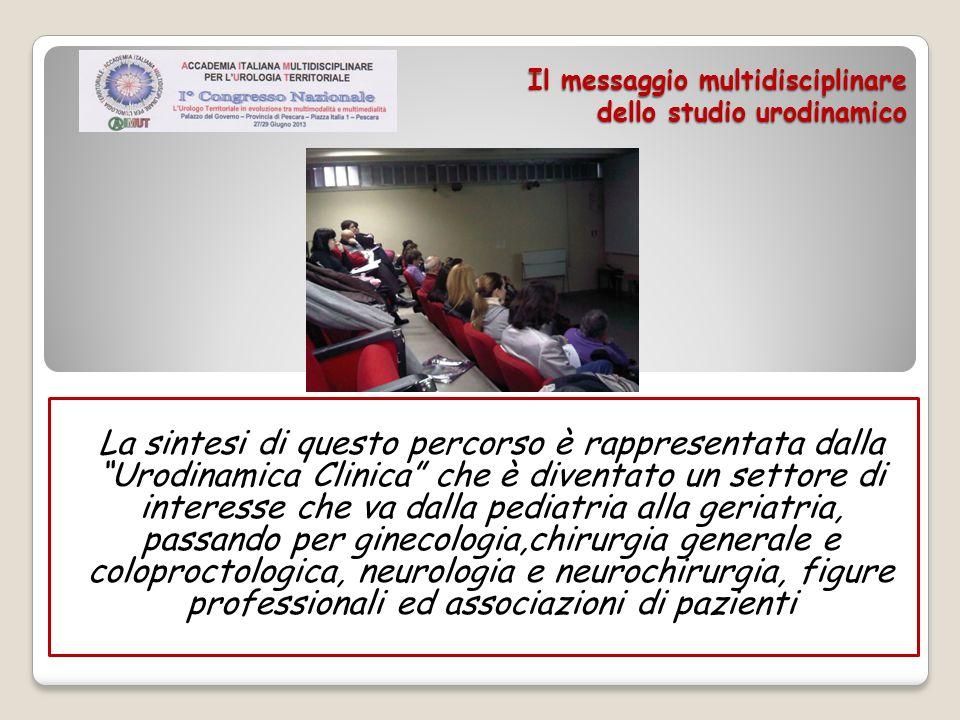 Il messaggio multidisciplinare dello studio urodinamico La sintesi di questo percorso è rappresentata dalla Urodinamica Clinica che è diventato un set