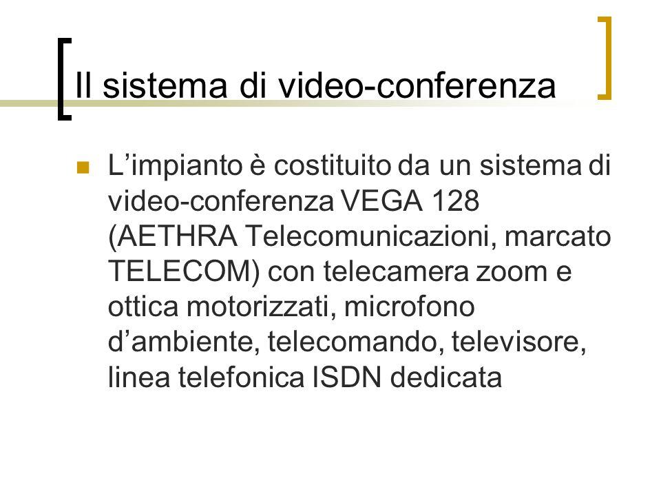 Il sistema di video-conferenza Limpianto è costituito da un sistema di video-conferenza VEGA 128 (AETHRA Telecomunicazioni, marcato TELECOM) con telec