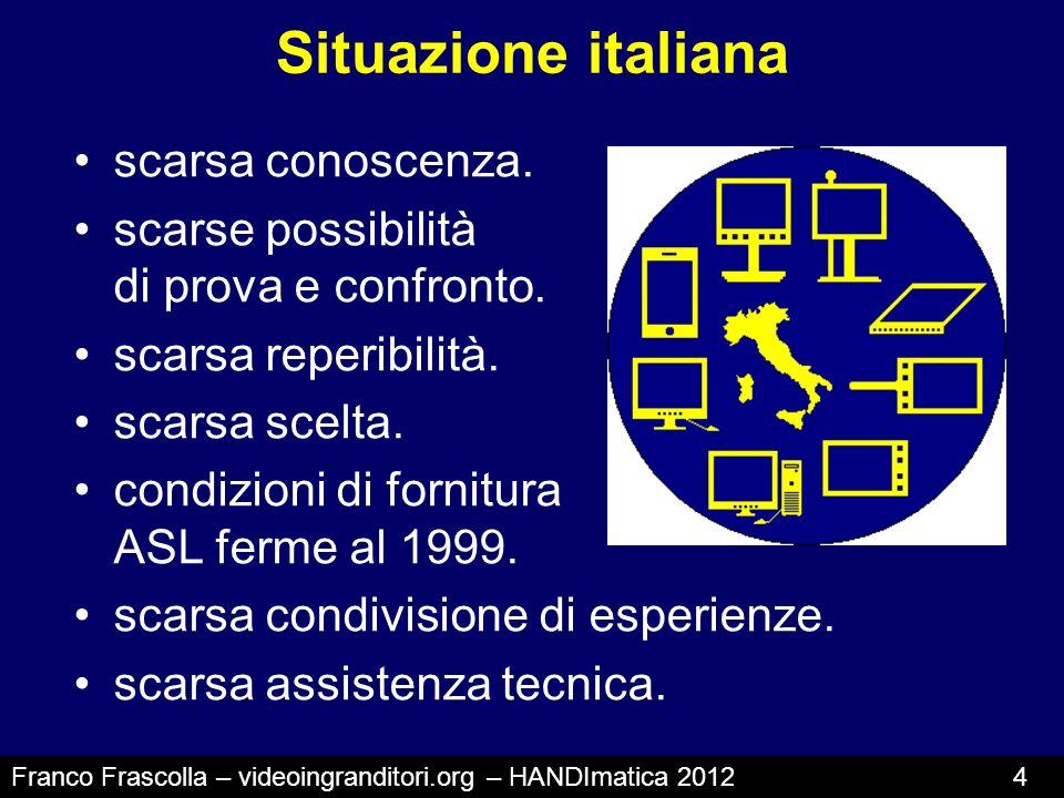 Situazione italiana scarsa conoscenza. scarse possibilità di prova e confronto. scarsa reperibilità. scarsa scelta. condizioni di fornitura ASL ferme