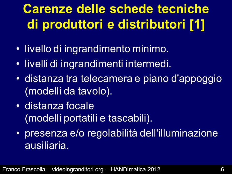 Carenze delle schede tecniche di produttori e distributori [1] livello di ingrandimento minimo. livelli di ingrandimenti intermedi. distanza tra telec