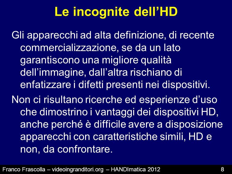 Le incognite dellHD Gli apparecchi ad alta definizione, di recente commercializzazione, se da un lato garantiscono una migliore qualità dellimmagine,