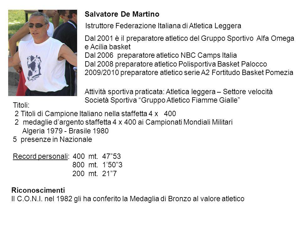 Dal 2001 è il preparatore atletico del Gruppo Sportivo Alfa Omega e Acilia basket Dal 2006 preparatore atletico NBC Camps Italia Dal 2008 preparatore