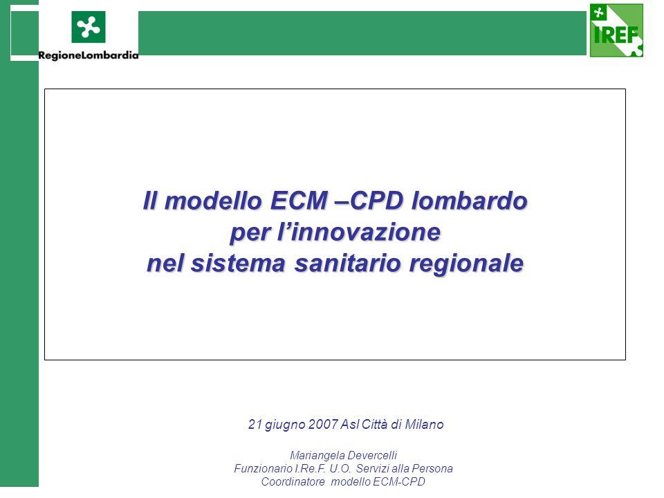 Il modello ECM –CPD lombardo per linnovazione nel sistema sanitario regionale 21 giugno 2007 Asl Città di Milano Mariangela Devercelli Funzionario I.R