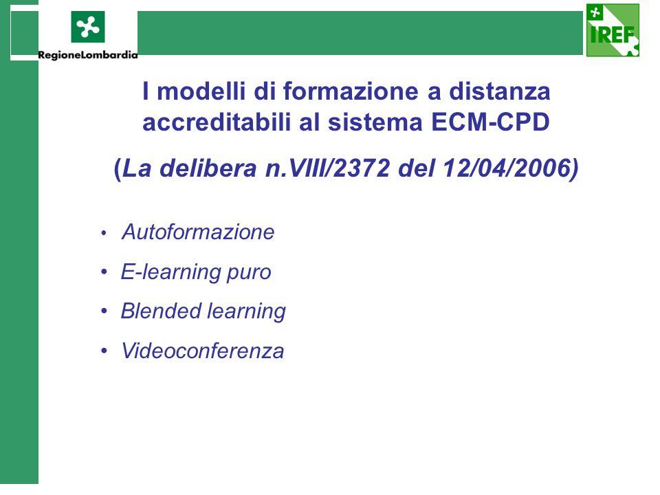 I modelli di formazione a distanza accreditabili al sistema ECM-CPD (La delibera n.VIII/2372 del 12/04/2006) Autoformazione E-learning puro Blended le