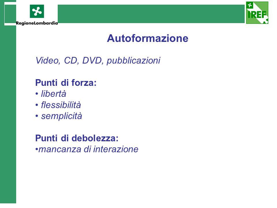 Autoformazione Video, CD, DVD, pubblicazioni Punti di forza: libertà flessibilità semplicità Punti di debolezza: mancanza di interazione