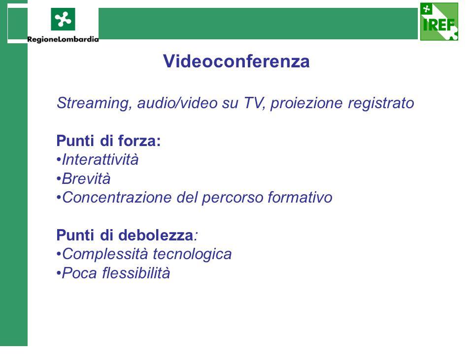 Videoconferenza Streaming, audio/video su TV, proiezione registrato Punti di forza: Interattività Brevità Concentrazione del percorso formativo Punti