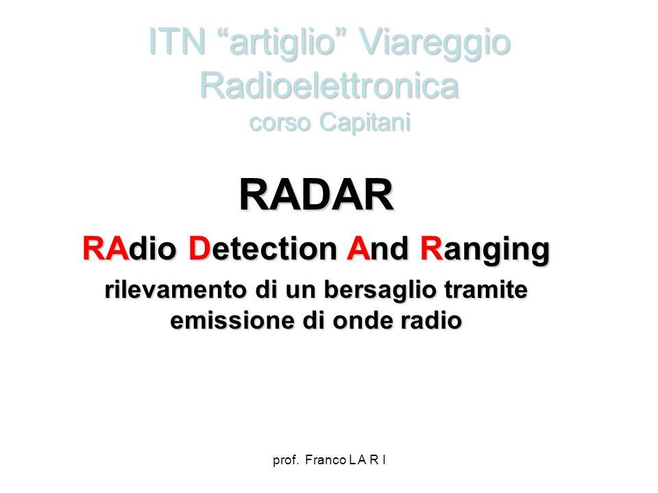 prof. Franco L A R I ITN artiglio Viareggio Radioelettronica corso Capitani RADAR RAdio Detection And Ranging rilevamento di un bersaglio tramite emis