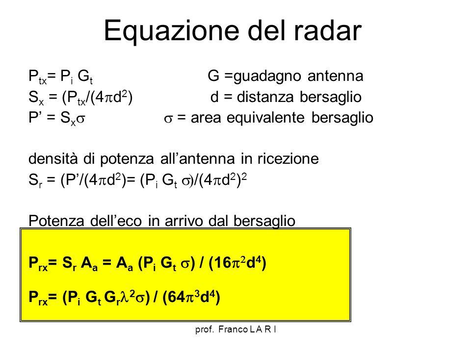 prof. Franco L A R I Equazione del radar P tx = P i G t G =guadagno antenna S x = (P tx /(4 d 2 ) d = distanza bersaglio P = S x = area equivalente be