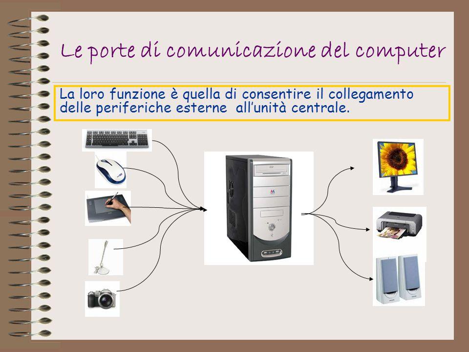 Le porte di comunicazione del computer La loro funzione è quella di consentire il collegamento delle periferiche esterne allunità centrale.