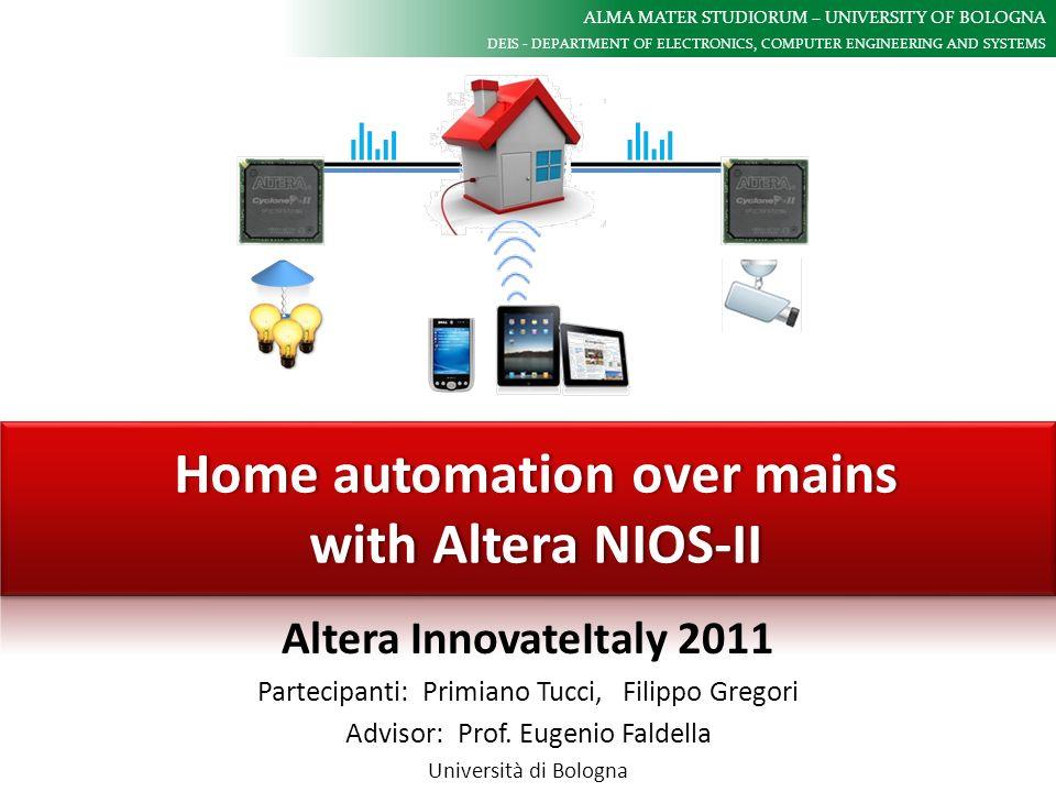 ALMA MATER STUDIORUM – UNIVERSITY OF BOLOGNA DEIS - DEPARTMENT OF ELECTRONICS, COMPUTER ENGINEERING AND SYSTEMS Home automation over mains with Altera NIOS-II December 1st, 2011 Infrastruttura software Altera InnovateItaly 2011 - Primiano Tucci, Filippo Gregori MicroC/OS-II RTOS NicheStack TCP/IP Tasks NicheStack TCP/IP Tasks Network Automation Task Network Automation Task Framegrabber Task Framegrabber Task NIOS-II Softcore Lato Smart-node (FPGA) E stato adottato il MicroC/OS-II RTOS per integrare: Lo stack embedded TCP/IP (NicheStack) Le funzionalità del framegrabber (sincronizzazione del framebuffer con la trasmissione in rete) Il protocollo di comunicazione che consente linterazione con gli altri nodi sulla rete di Home Automation Lato PC E stata sviluppata una piccola applicazione dimostrativa avvalendosi della piattaforma Microsoft.Net (linguaggio C#).