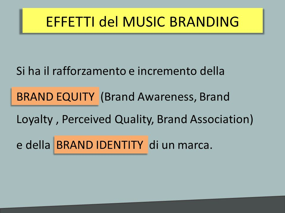 Si ha il rafforzamento e incremento della BRAND EQUITY (Brand Awareness, Brand Loyalty, Perceived Quality, Brand Association) e della BRAND IDENTITY d