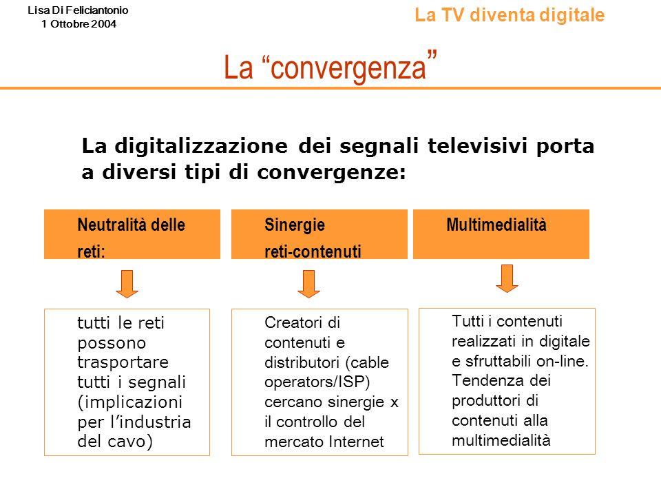 Lisa Di Feliciantonio 1 Ottobre 2004 La convergenza La digitalizzazione dei segnali televisivi porta a diversi tipi di convergenze: Neutralità delle r