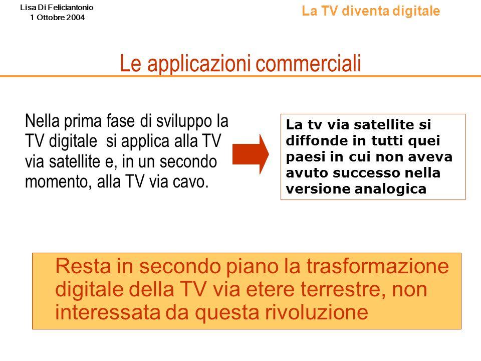 Lisa Di Feliciantonio 1 Ottobre 2004 Le applicazioni commerciali Resta in secondo piano la trasformazione digitale della TV via etere terrestre, non i