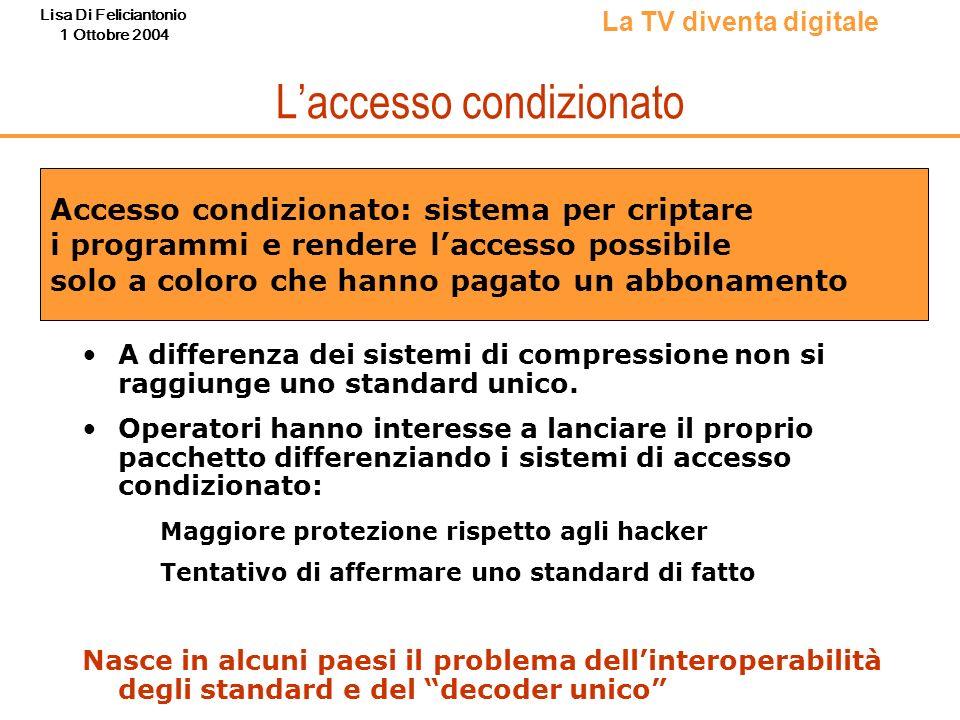 Lisa Di Feliciantonio 1 Ottobre 2004 Laccesso condizionato A differenza dei sistemi di compressione non si raggiunge uno standard unico. Operatori han