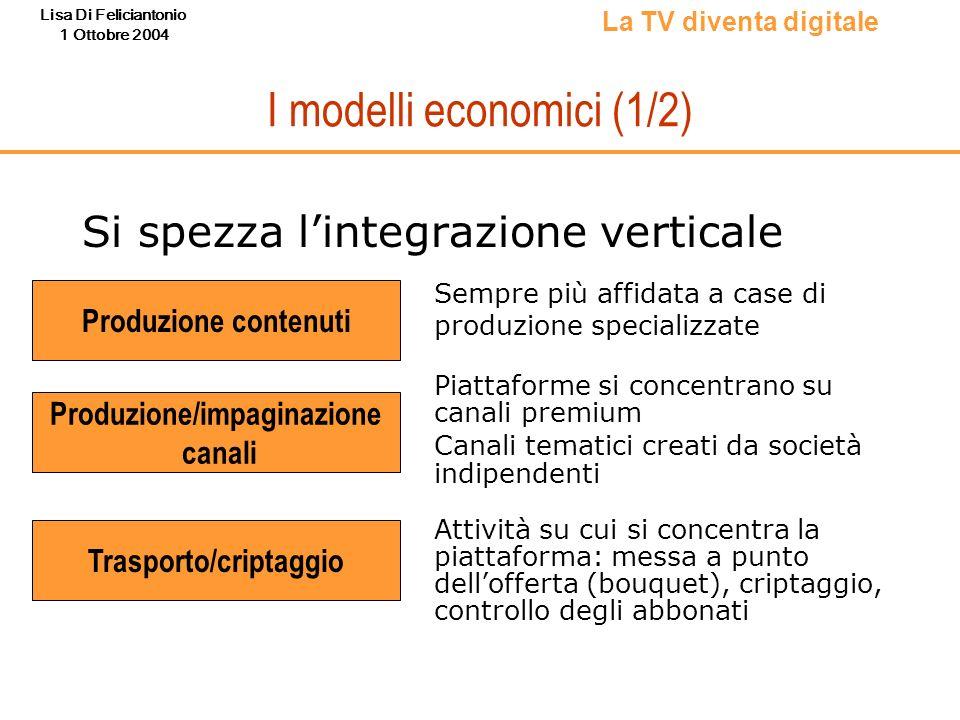 Lisa Di Feliciantonio 1 Ottobre 2004 I modelli economici (1/2) Si spezza lintegrazione verticale La TV diventa digitale Produzione contenuti Sempre pi