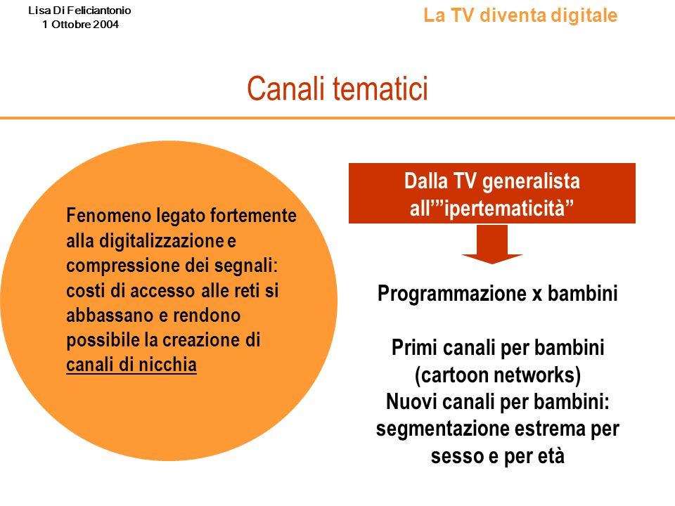 Lisa Di Feliciantonio 1 Ottobre 2004 Canali tematici Fenomeno legato fortemente alla digitalizzazione e compressione dei segnali: costi di accesso all