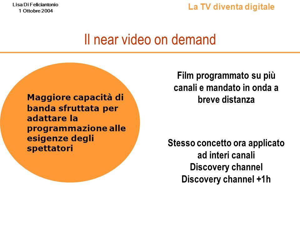 Lisa Di Feliciantonio 1 Ottobre 2004 Il near video on demand Maggiore capacità di banda sfruttata per adattare la programmazione alle esigenze degli s