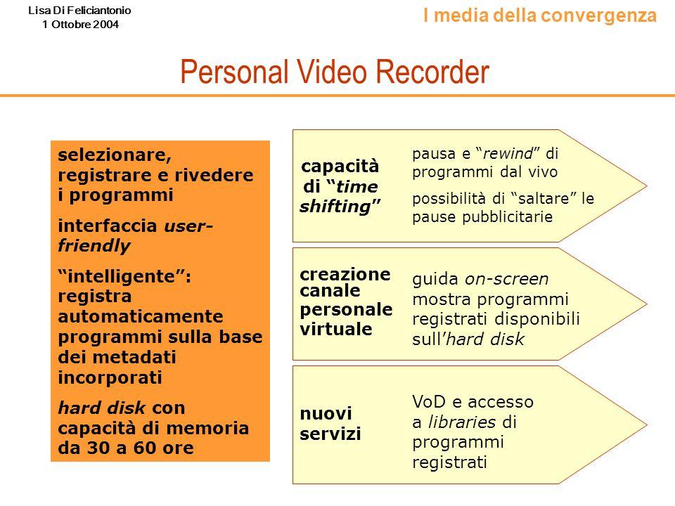 Lisa Di Feliciantonio 1 Ottobre 2004 Personal Video Recorder selezionare, registrare e rivedere i programmi interfaccia user- friendly intelligente: r