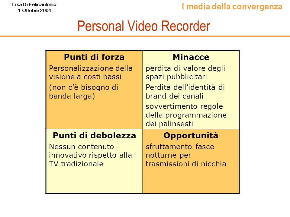 Lisa Di Feliciantonio 1 Ottobre 2004 Personal Video Recorder I media della convergenza Punti di forza Personalizzazione della visione a costi bassi (n