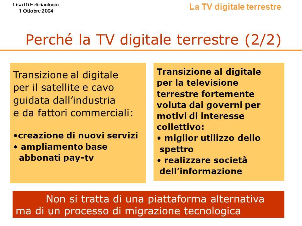 Lisa Di Feliciantonio 1 Ottobre 2004 Perché la TV digitale terrestre (2/2) La TV digitale terrestre Transizione al digitale per il satellite e cavo gu