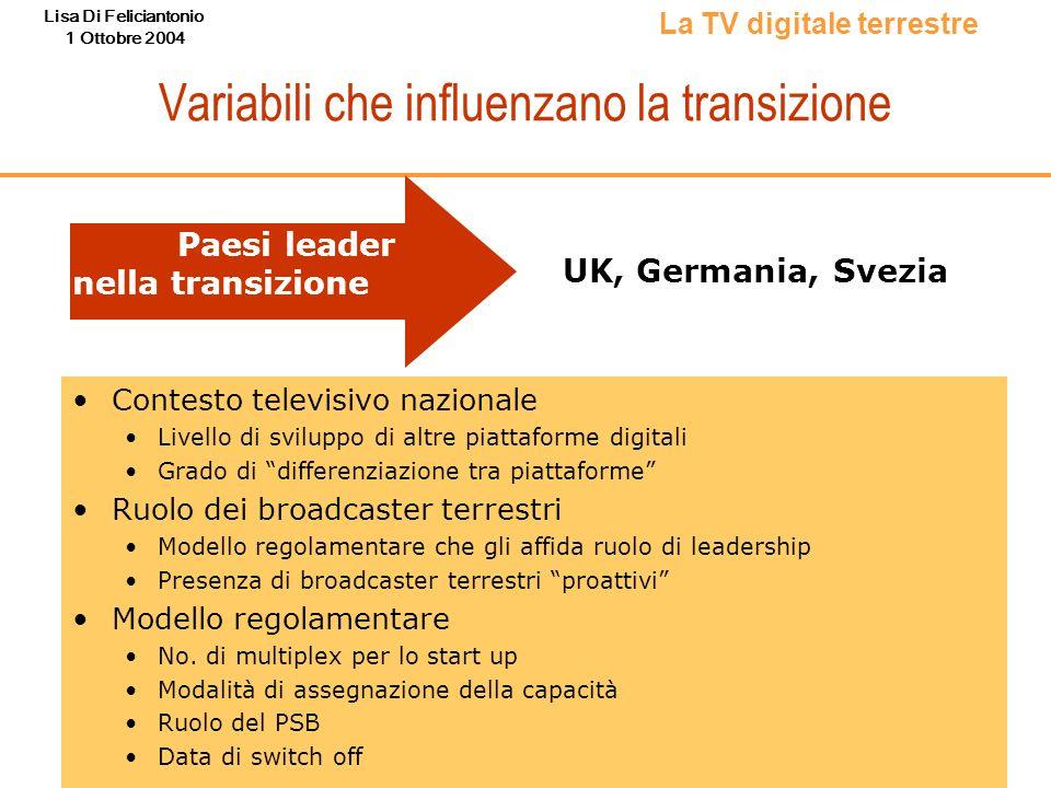 Lisa Di Feliciantonio 1 Ottobre 2004 Variabili che influenzano la transizione La TV digitale terrestre Contesto televisivo nazionale Livello di svilup