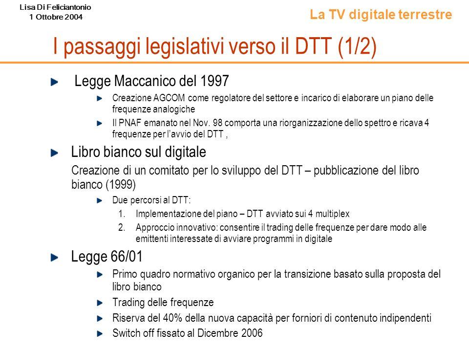 Lisa Di Feliciantonio 1 Ottobre 2004 I passaggi legislativi verso il DTT (1/2) Legge Maccanico del 1997 Creazione AGCOM come regolatore del settore e