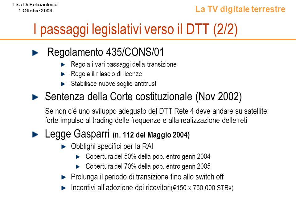 Lisa Di Feliciantonio 1 Ottobre 2004 I passaggi legislativi verso il DTT (2/2) Regolamento 435/CONS/01 Regola i vari passaggi della transizione Regola