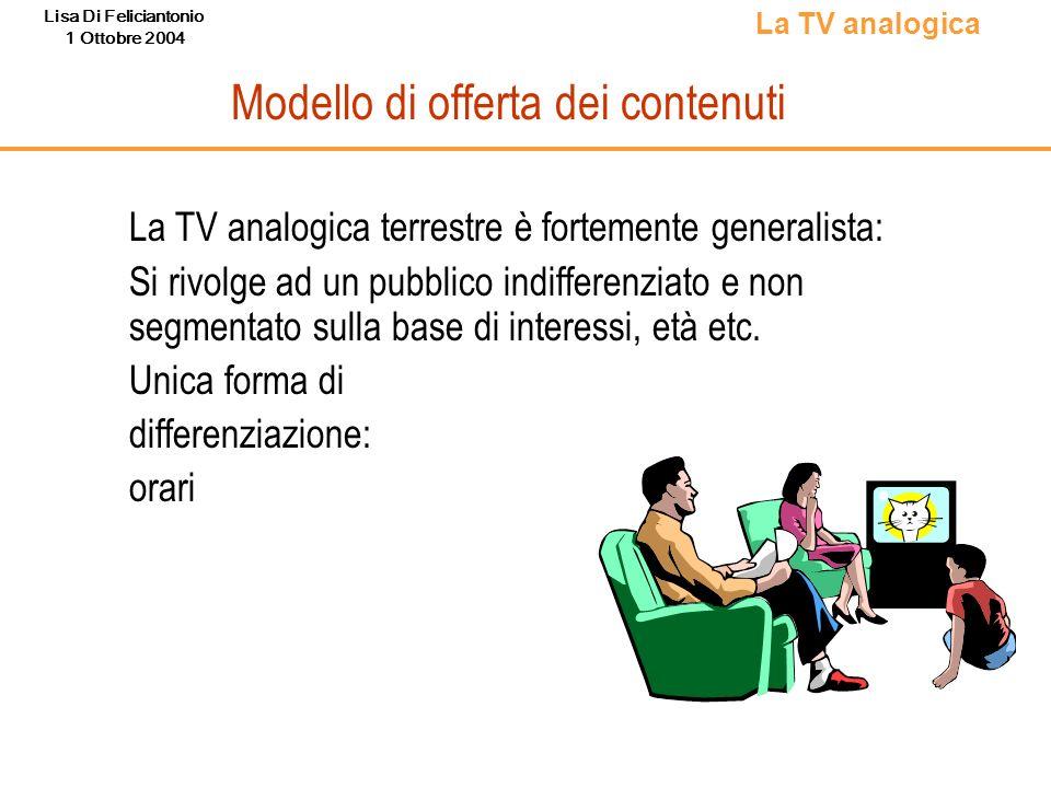 Lisa Di Feliciantonio 1 Ottobre 2004 Modello di offerta dei contenuti La TV analogica terrestre è fortemente generalista: Si rivolge ad un pubblico in