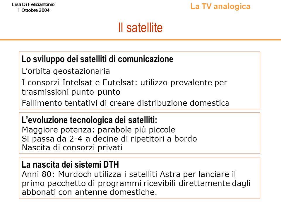 Lisa Di Feliciantonio 1 Ottobre 2004 I passaggi legislativi verso il DTT (2/2) Regolamento 435/CONS/01 Regola i vari passaggi della transizione Regola il rilascio di licenze Stabilisce nuove soglie antitrust Sentenza della Corte costituzionale (Nov 2002) Se non cè uno sviluppo adeguato del DTT Rete 4 deve andare su satellite: forte impulso al trading delle frequenze e alla realizzazione delle reti Legge Gasparri (n.