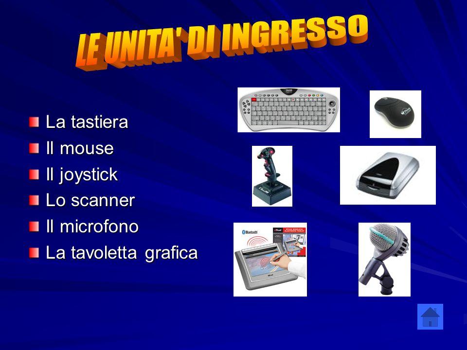 La tastiera Il mouse Il joystick Lo scanner Il microfono La tavoletta grafica