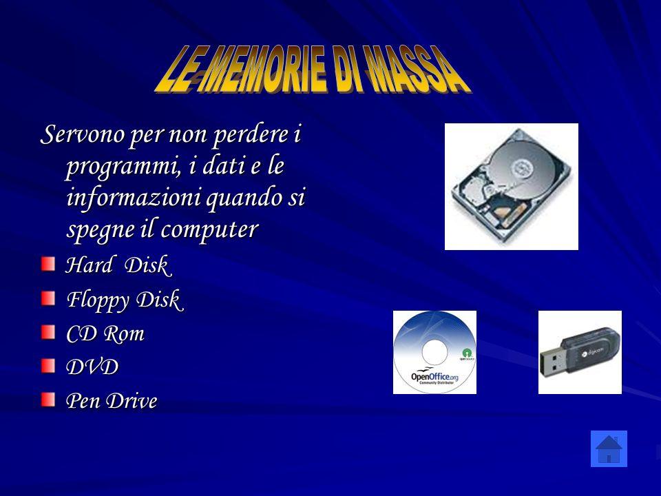 Servono per non perdere i programmi, i dati e le informazioni quando si spegne il computer Hard Disk Floppy Disk CD Rom DVD Pen Drive