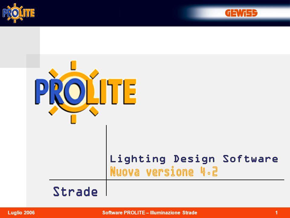 2Software PROLITE – Illuminazione StradeLuglio 2006 Prolite 4.2 è la nuova versione del software per la progettazione illuminotecnica di ambienti interni, aree esterne, e strade, con funzioni di visualizzazione delle tabelle, dei risultati, dei grafici e delle immagini realistiche dellambiente da diversi punti di vista.