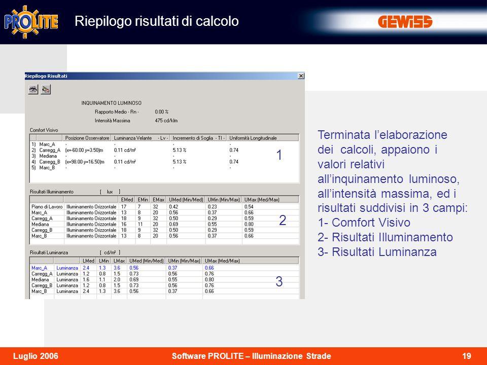 19Software PROLITE – Illuminazione StradeLuglio 2006 Riepilogo risultati di calcolo Terminata lelaborazione dei calcoli, appaiono i valori relativi al