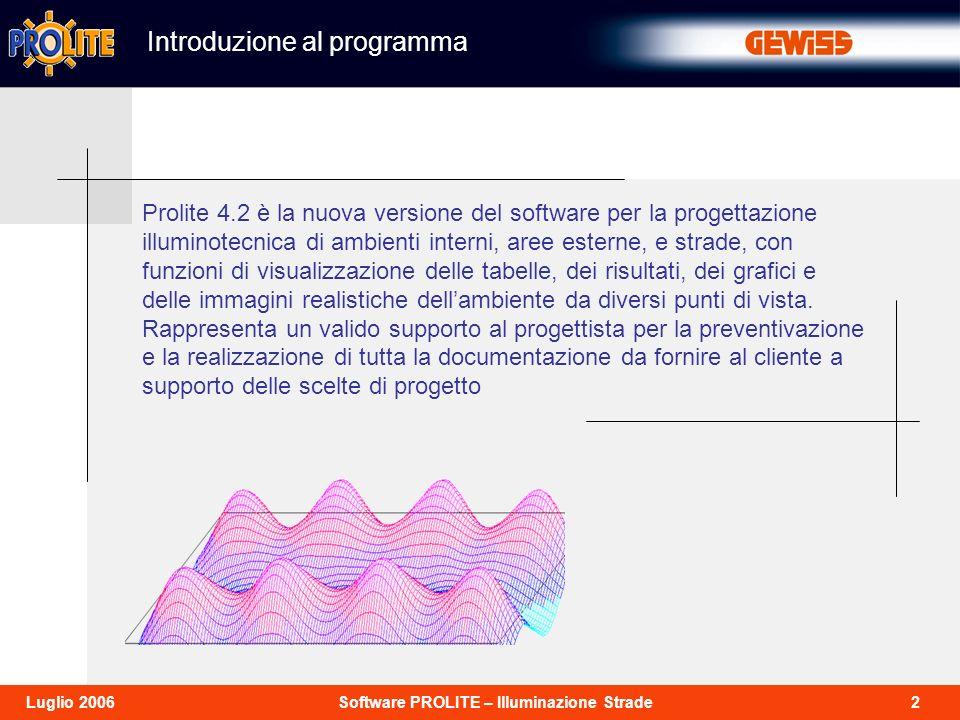 2Software PROLITE – Illuminazione StradeLuglio 2006 Prolite 4.2 è la nuova versione del software per la progettazione illuminotecnica di ambienti inte
