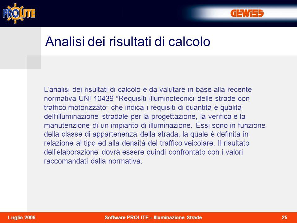 25Software PROLITE – Illuminazione StradeLuglio 2006 Lanalisi dei risultati di calcolo è da valutare in base alla recente normativa UNI 10439 Requisit