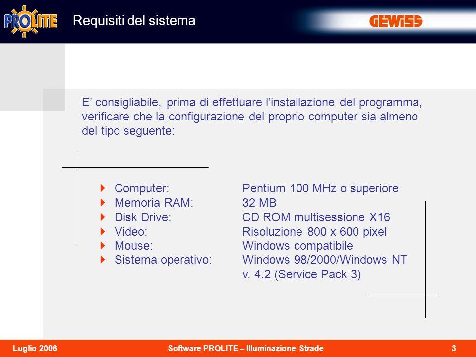 14Software PROLITE – Illuminazione StradeLuglio 2006 Dati di installazione Vengono qui definiti i dati di installazione relativi allinserimento del palo di sostegno degli apparecchi come da schema.