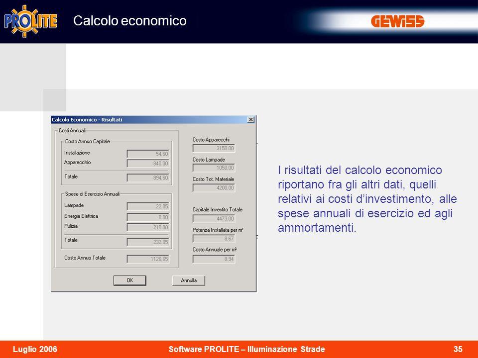 35Software PROLITE – Illuminazione StradeLuglio 2006 I risultati del calcolo economico riportano fra gli altri dati, quelli relativi ai costi dinvesti