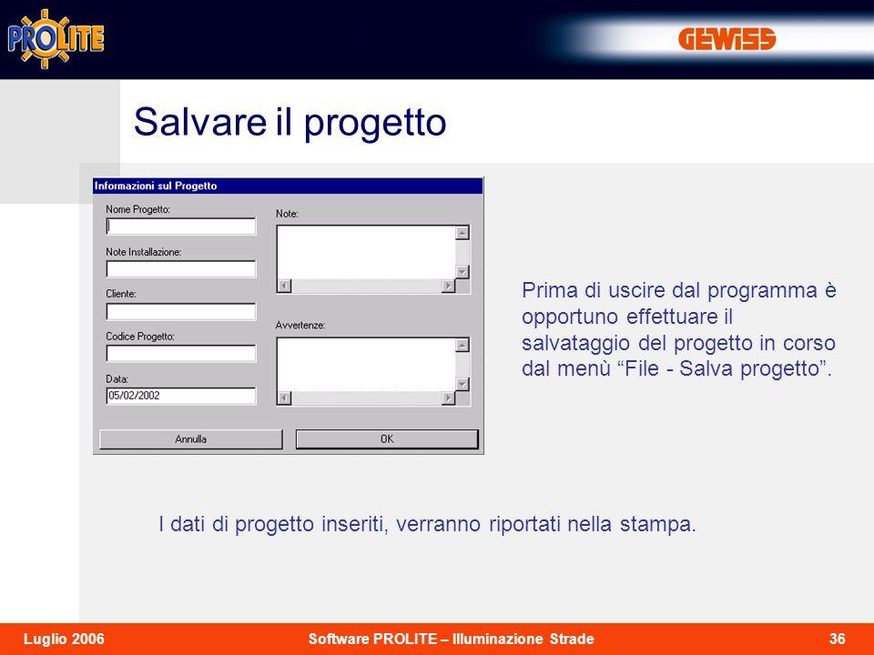 36Software PROLITE – Illuminazione StradeLuglio 2006 Prima di uscire dal programma è opportuno effettuare il salvataggio del progetto in corso dal men