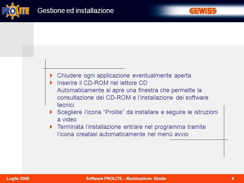 4Software PROLITE – Illuminazione StradeLuglio 2006 Gestione ed installazione Chiudere ogni applicazione eventualmente aperta Inserire il CD-ROM nel l