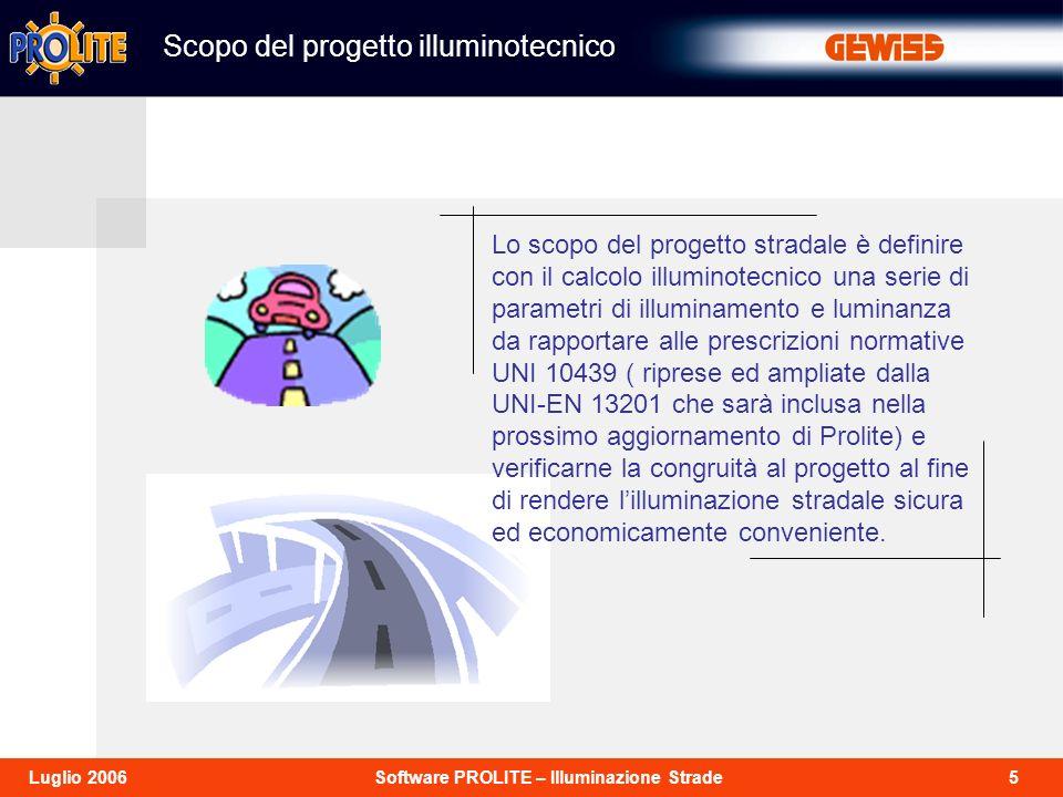 5Software PROLITE – Illuminazione StradeLuglio 2006 Scopo del progetto illuminotecnico Lo scopo del progetto stradale è definire con il calcolo illumi