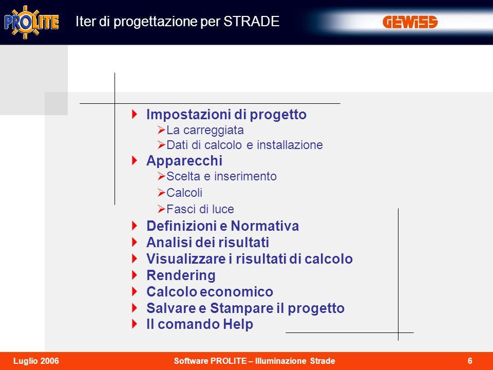 6Software PROLITE – Illuminazione StradeLuglio 2006 Iter di progettazione per STRADE Impostazioni di progetto La carreggiata Dati di calcolo e install